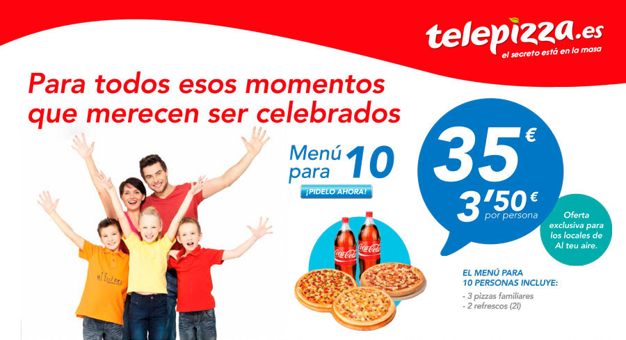 Oferta menú Telepizza